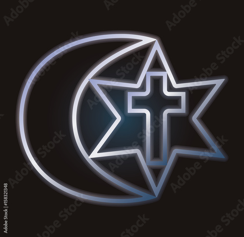 Symbols Of Three Religions Vector Illustration Buy This Stock