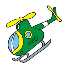 Helicopter With Skids, Vector Icon, Sketch
