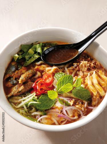 A bowl of assam laksa noodle Canvas Print