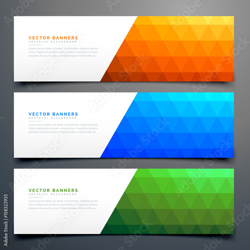 Fototapeta abstract colorful banners set with triangle pattern obraz