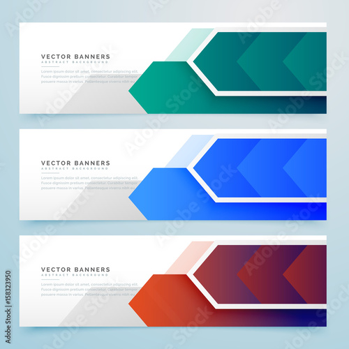 Fototapeta abstract arrow geometric banners set obraz