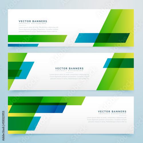 Fototapeta green business style geometric banners set obraz