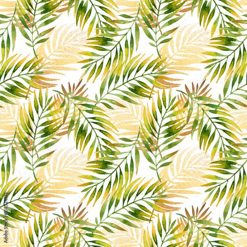 Photo sur Toile Empreintes Graphiques Watercolor and golden graphic palm leaf seamless pattern.