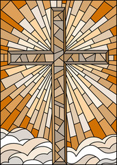 NaklejkaIllustration in stained glass style with the Christian cross on a background of sky and clouds , brown tone, Sepia