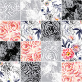 Abstract squares seamless pattern: watercolor, ink doodle flowers, leaves, weeds. - 158328940