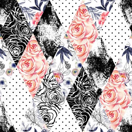streszczenie-akwarela-i-atrament-doodle-kwiaty-liscie-chwasty-tlo