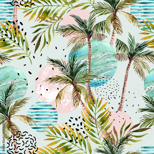 Fotoposter Grafische Prints Abstract summer tropical palm tree background.