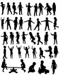 collection of silhouettes of happy children running jumping