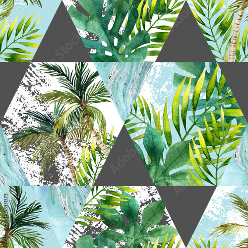 tropikalne-liscie-i-drzewka-palmowe-w-trojkatach