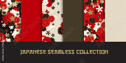 Papiers peints Artificiel Set of Japanese classic sakura and ornaments seamless patterns for traditional fabric, asian festive design in red, black, white, golden with spring flowers in blossom, vector illustration