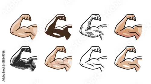 Foto  Arm muscles, strong hand icon or symbol