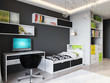 Bright and cozy children's room in modern urban contemporary style interior design with Gray Walls, White furniture with light green accents, Baby bed, Teen bed, large wardrobe and work desk