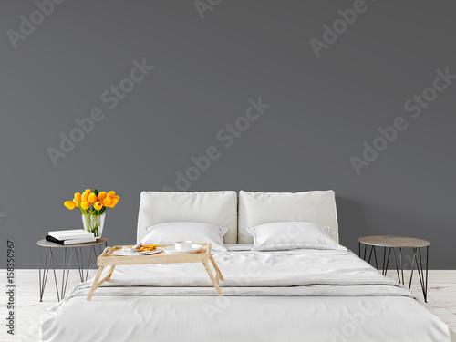 Fotografía  Spring morning Mock up wall bedroom interior urban contemporary design