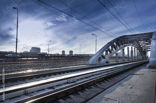Photo  Train bridge over river