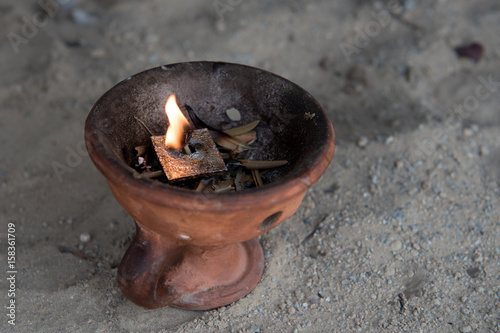 Valokuvatapetti Religious censer with burning candle