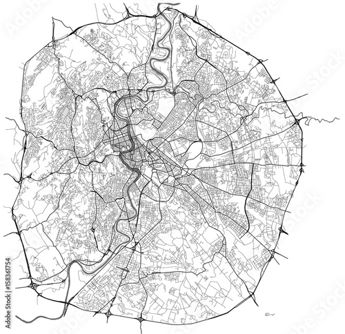 Fotografía map of the city of Rome, Italy