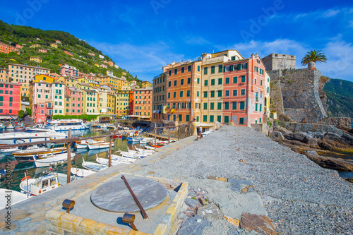 Deurstickers Stad aan het water CAMOGLI, ITALY, MAY 23, 2017 - View of city of Camogli , Genoa Province, Liguria, Mediterranean coast, Italy