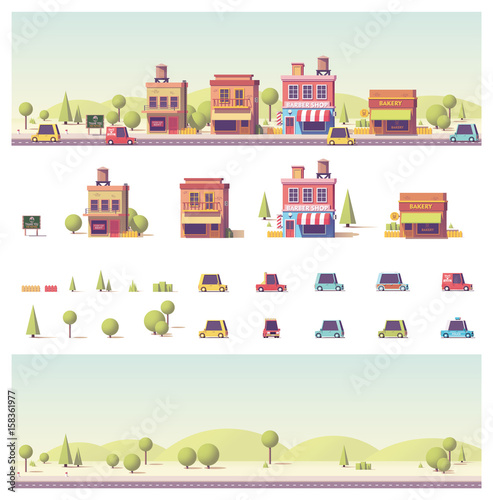 Poster de jardin Route Vector low poly 2d buildings and city scene