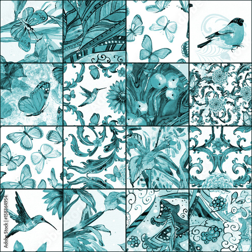 monochrome seamless texture with cute patchwork pattern. watercolor painting