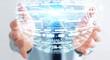 Businessman holding hologram sphere 3D rendering