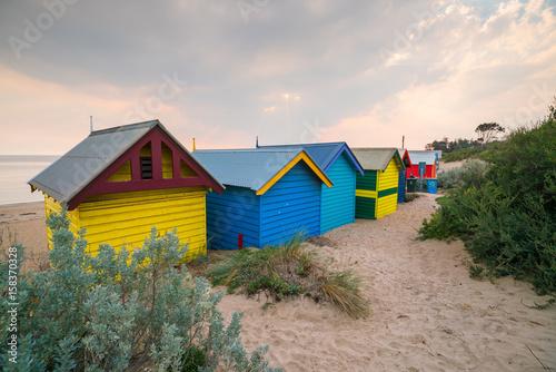 Poster Afrique du Sud Colorful Beach House at Brighton Beach, Melbourne