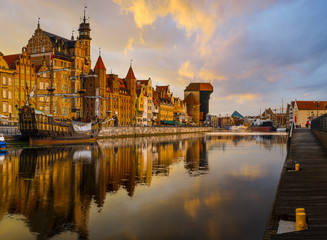Fototapeta na wymiar colorful gothic facades of the old town in Gdansk, Poland, on sunset