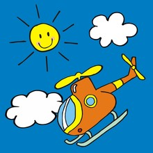 Helicopter And Sun, Vector Icon, Funny Illustration For Children
