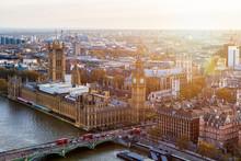 Aerial Panorama View On London...