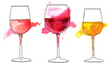 Set of vector and watercolor drawings of wine glasses - 158381959