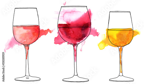 Fotografija Set of vector and watercolor drawings of wine glasses