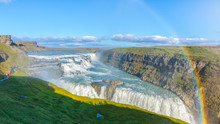 Amazing Gullfoss Waterfall With Rainbow, Iceland