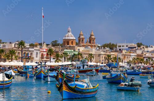 Poster de jardin Europe Méditérranéenne Malta. Marsaxlokk. Traditional fishing boats.