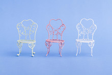 Pink And White Decorative Mini Wrought Iron Chairs