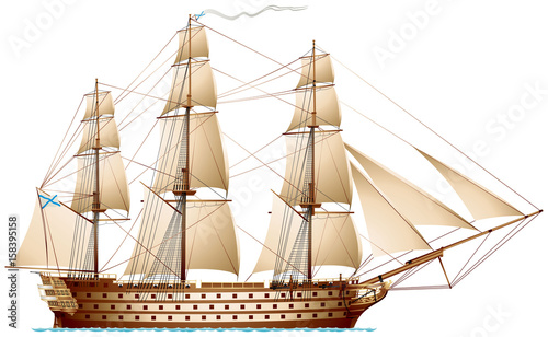In de dag Schip Ship of the line, biggest and strongest naval sailing warship type, man-of-war battleship with Imperial Russian Navy Ensign and masthead pennant realistic vector illustration