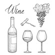 Wine drink set. Wine glass, bottle, lettering, grape. Wine card. Vineyard engrave background.