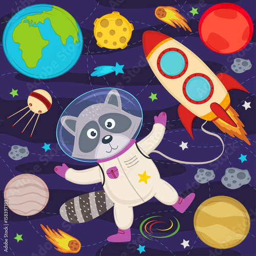 Photo  raccoon in space - vector illustration, eps