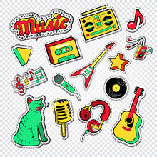 Musical Doodle With Music Instruments. Teenager Lifestyle Stickers, Badges And Patches. Vector Illustration