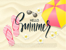 Summer Beach Background With Tropical Flowers, Umbrella, Sunglasses And Flip Flops On Sand . Vector Illustration.