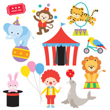 Vector Illustration Of Cute And Colorful Circus Animal Set.