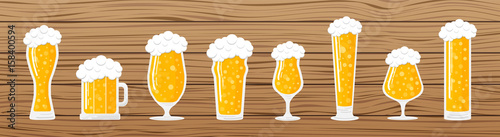 Photo Banner with different beer glasses on wooden background. Vector.
