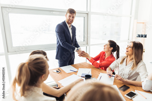Fototapety, obrazy: business and office concept - businessman shaking hands each oth
