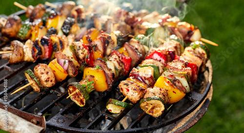 In de dag Grill / Barbecue Grilled skewers on a grilled plate, outdoor