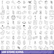 100 store icons set, outline style