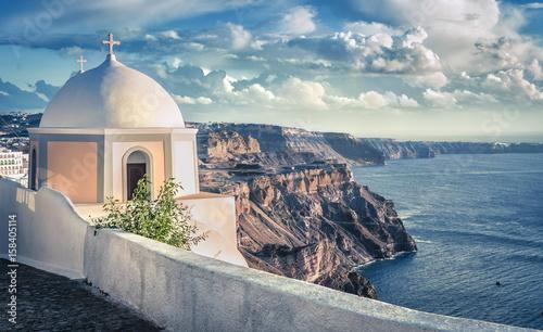 Fototapeta Traditional greek church on the cliff, Santorini Island, Greece obraz