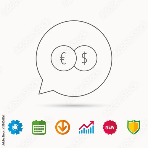 Banking Transfer Sign Euro To Dollar Symbol Calendar Graph Chart And Cogwheel Signs Shield Web Icons Vector
