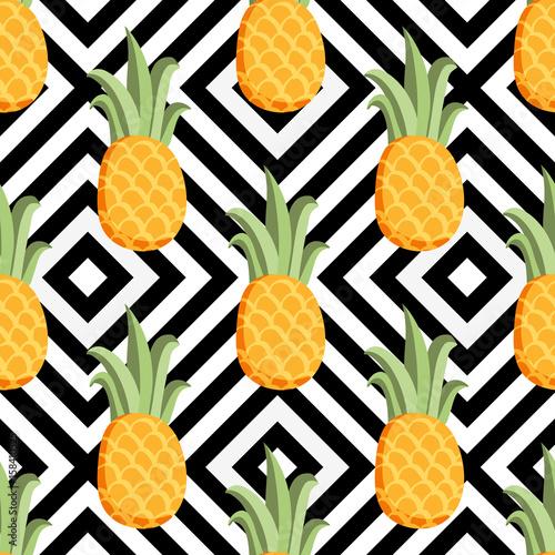 tropikalny-modny-wzor-z-ananasem-wzor-geometryczny-egzotyczny-sliczna-tkanina-wzor-owocow
