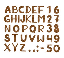 Wood Tree Texture Font. Alphabet, Vector Set With All Wooden Letters And Numbers. Isolated On White Background