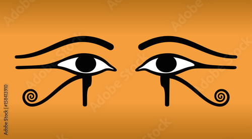 The Eyes Of Horus On Sand Colored Background Wedjat The Ancient