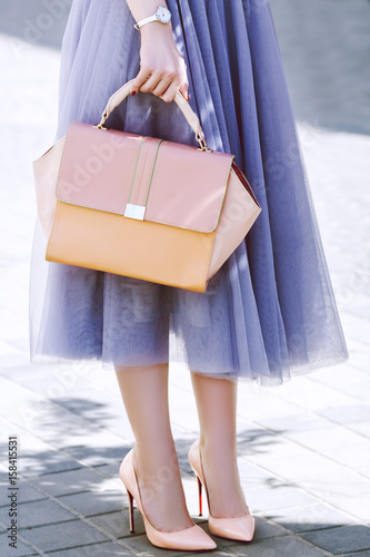 Fashionable woman posing in street. Girl holding elegant pink bag, purse, wearing stylish lash tulle skirt, shoes, wrist watch. Luxury wear and accessories. City lifestyle. Female fashion concept