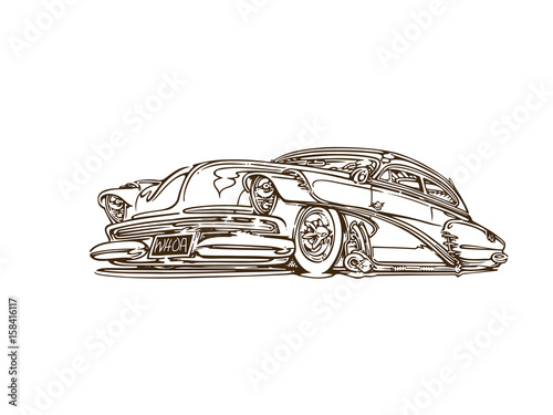 Vintage Muscle Cars Cartoon Sketch Vector Abstract Old School